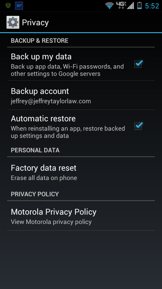 Automatic Backup Settings for Android