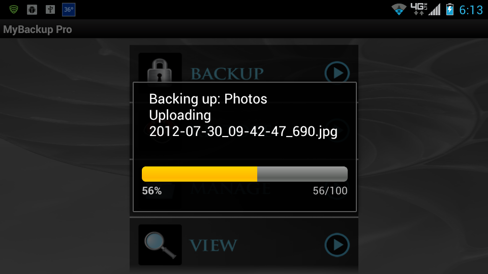 Screenshot of Data Backup