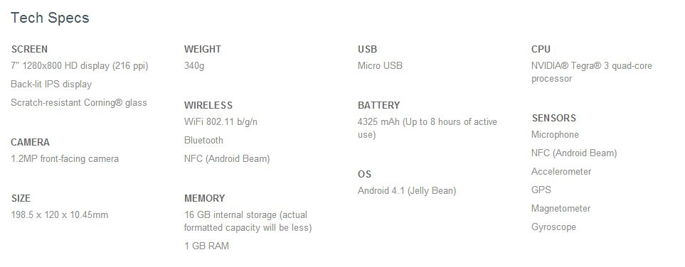 Nexus 7 Tech Specs