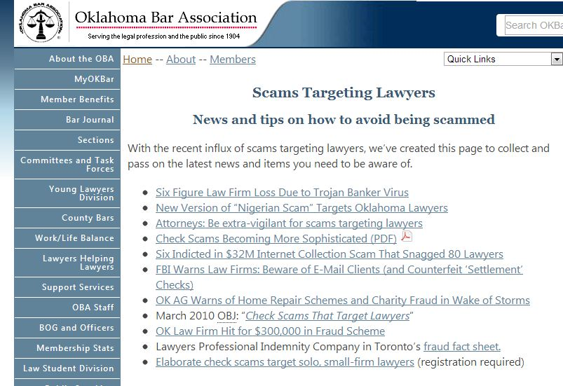 OK Bar Scams Targeting Lawyers
