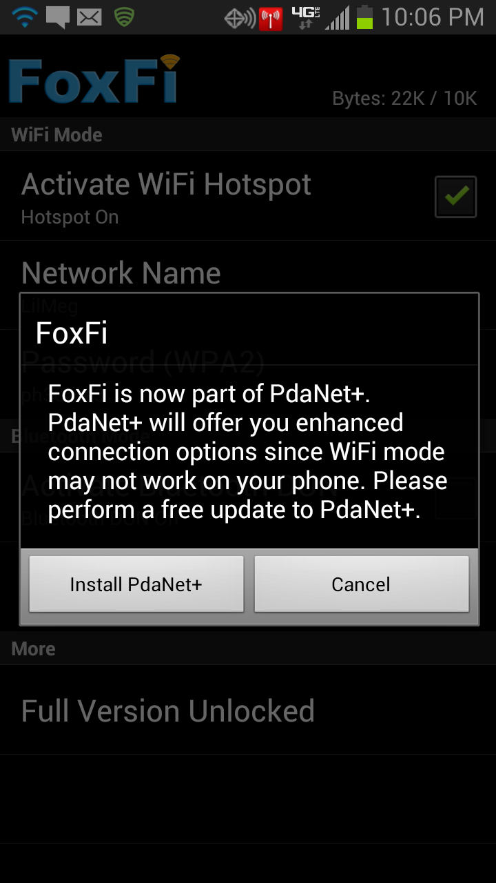 PdaNet+ Notification for FoxFi