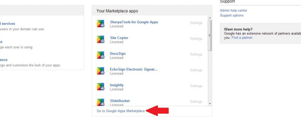 Google Apps Marketplace View