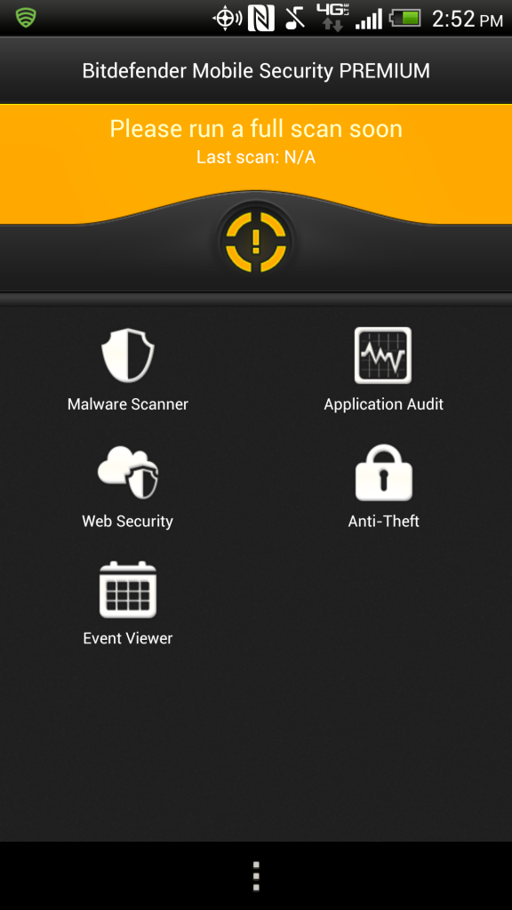 Bitdefender for Android Home Screen