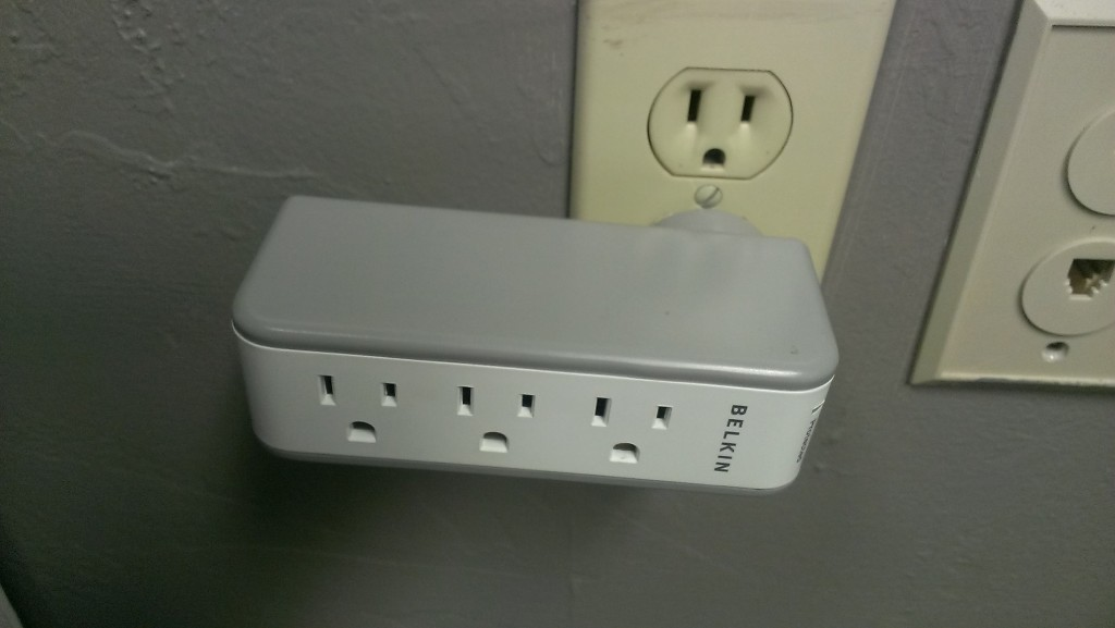 Belkin Mini Surge Protector Mounted in Wall Outlet