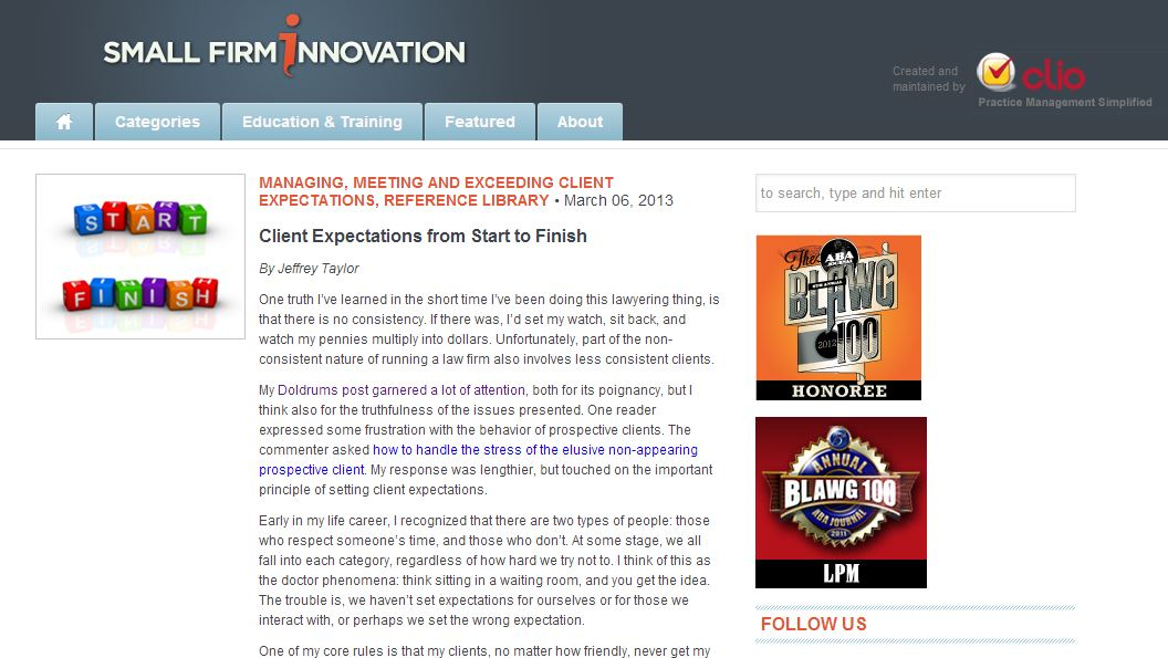 Start to Finish Client Expectations