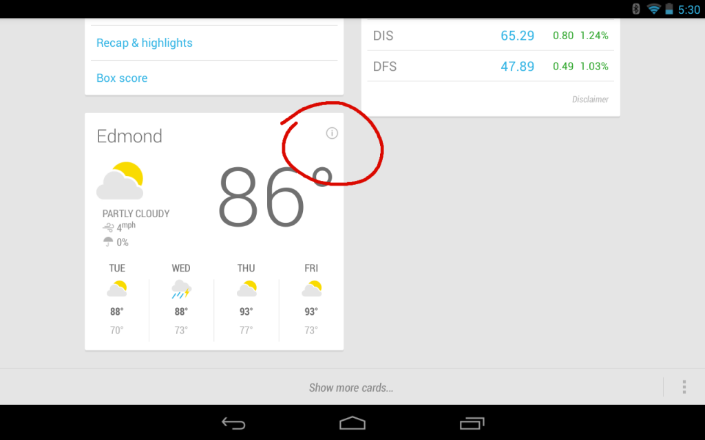 Google Now Card Settings