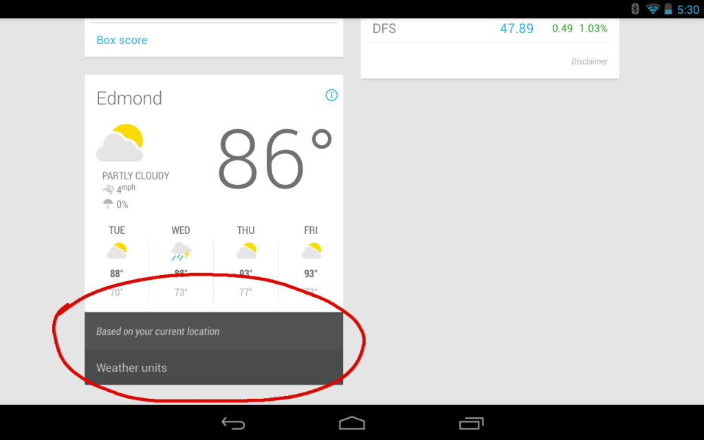 Google Now Weather Settings