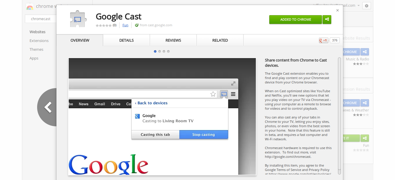 Chrome Web Store - Google Cast