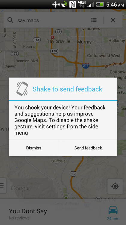 Shake to Send Feedback