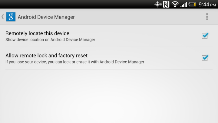 Android Device Manager Settings