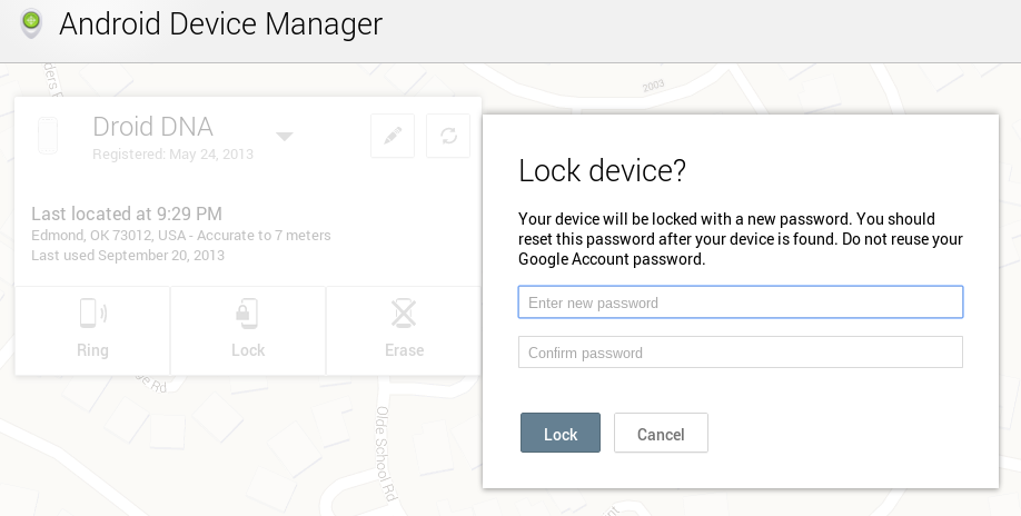 Reset Password Android Device Manager