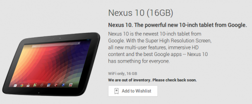 Nexus 10 Google Play
