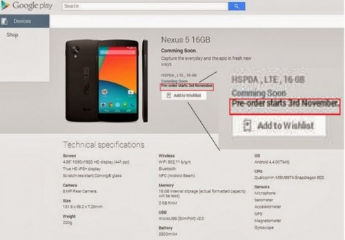 Nexus 5 with November 2 Pre-Order
