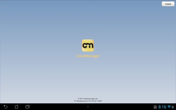CaseManager Splash Screen Home Scren