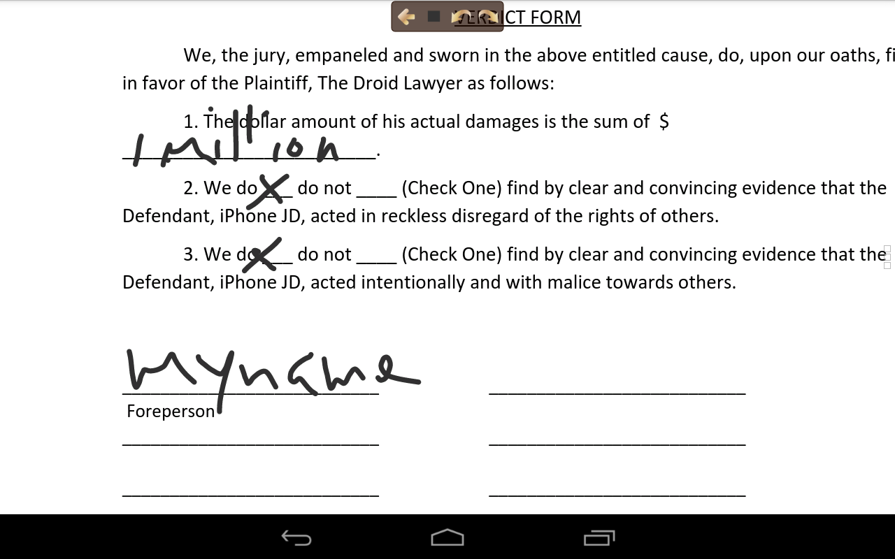 Filled Out Verdict Form