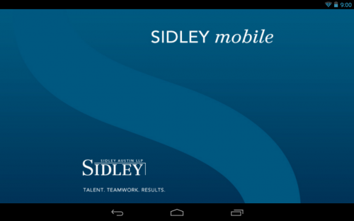 Sidley Austin Android App Splash Screen