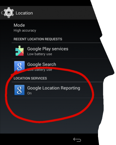 Google Location Reporting