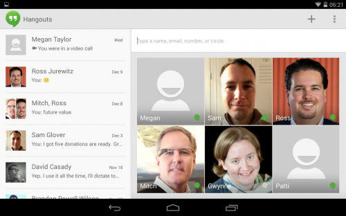 Hangouts Main Screen