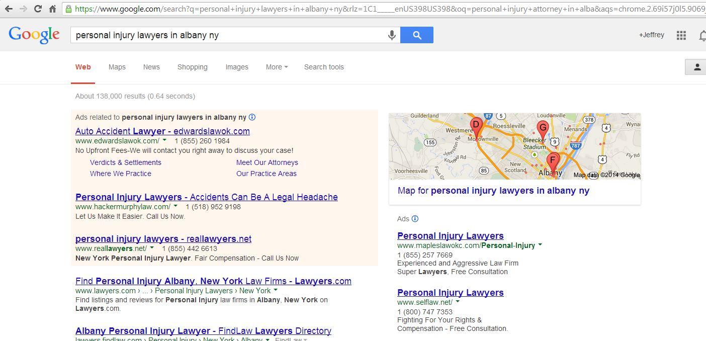 Google Personal Injury Search