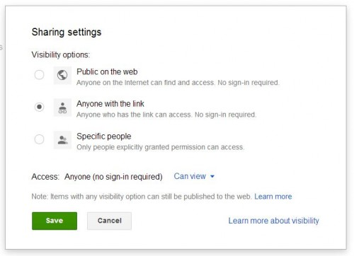 Visibility Google Drive