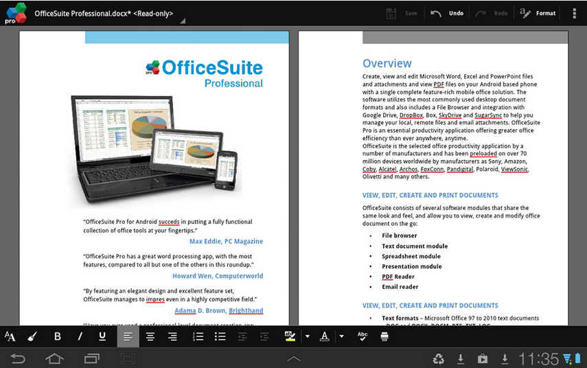 OfficeSuite Pro 7 document