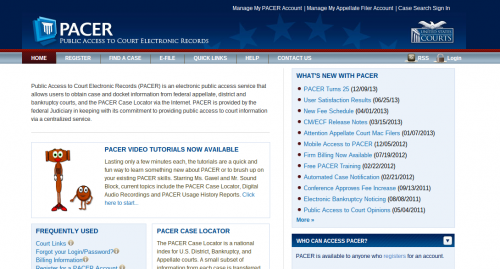 PACER home page
