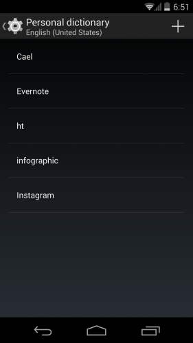 personal dictionary view