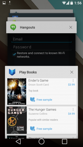 Android L Recent Apps Cards