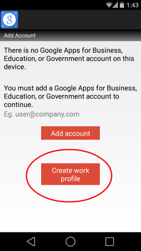 create work profile