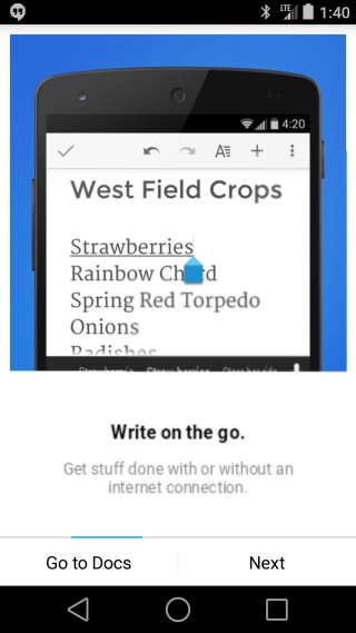 Google Docs & Sheets Available for Android L