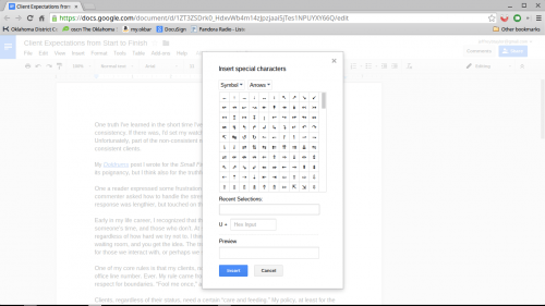 insert special characters google docs