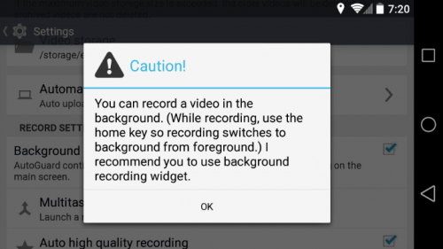 AutoGuard Blackbox background recording