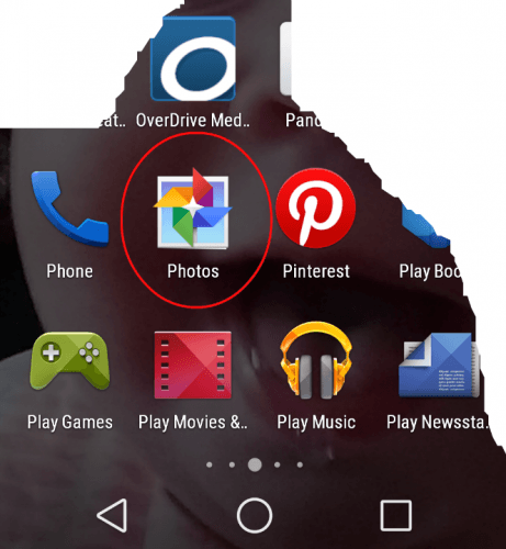 Photos Android Menu