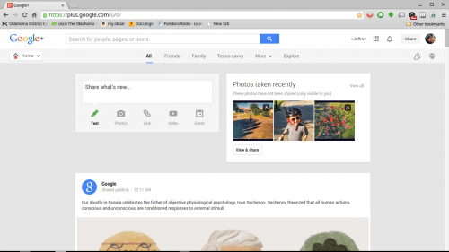 google plus screen