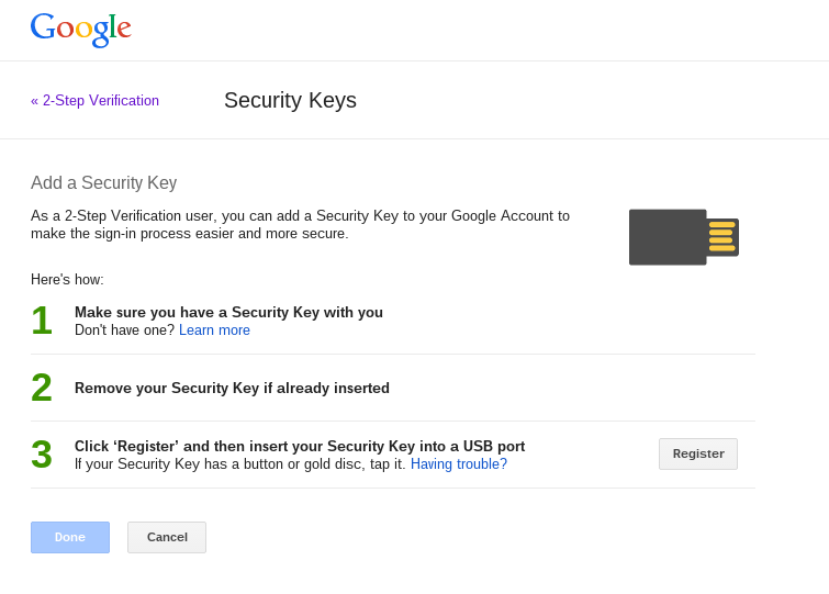 Google FIDO security key
