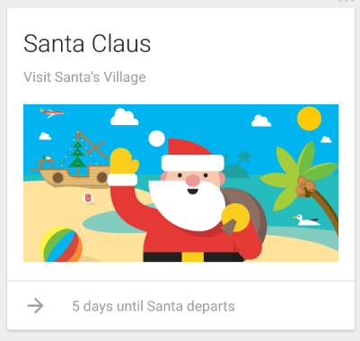 Google Now Santa Claus