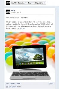 Asus TF300 Facebook Announcement