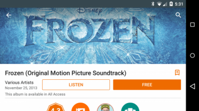 Google Play Music Frozen