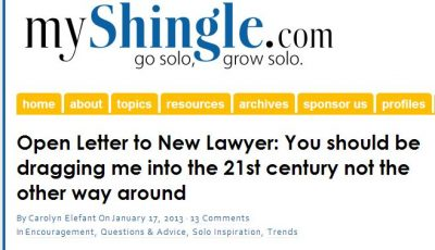 My Shingle Letter to New Lawyers