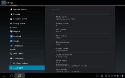 Asus Transformer Pad Infinity with Android 4.1.1