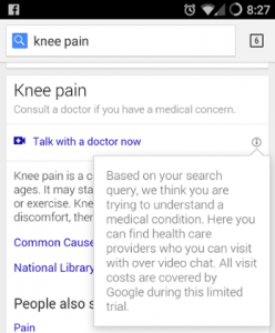 talk to a doctor Google