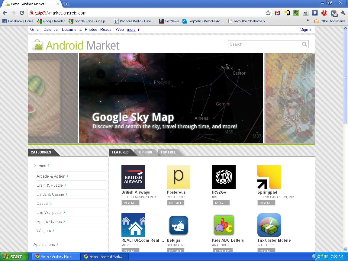 Screenshot Android Market Online