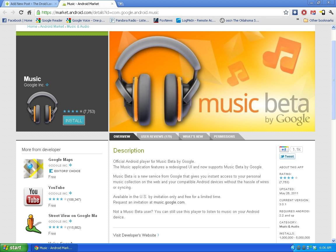 Music Beta by Google Android Market Screenshot